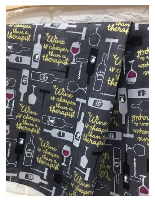 Ткань 100 % Хлопок, Бокал вина, Плотность 150 г/м2 , ширина 110 см