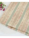 Ткань 100 % Хлопок, Мелкие цветы шебби с зеленой полосой , Плотность 130 г/м2, ширина 110 см.