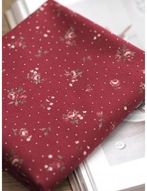 Ткань 100 % хлопок, Розочки на бордовом фоне, Плотность 130 г/м2, Ширина 110 см.