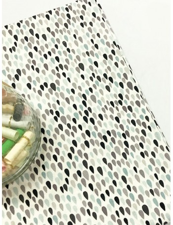 Ткань 100 % Хлопок, Черно-серые капельки , Плотность 155 г/м2, ширина 110 см.