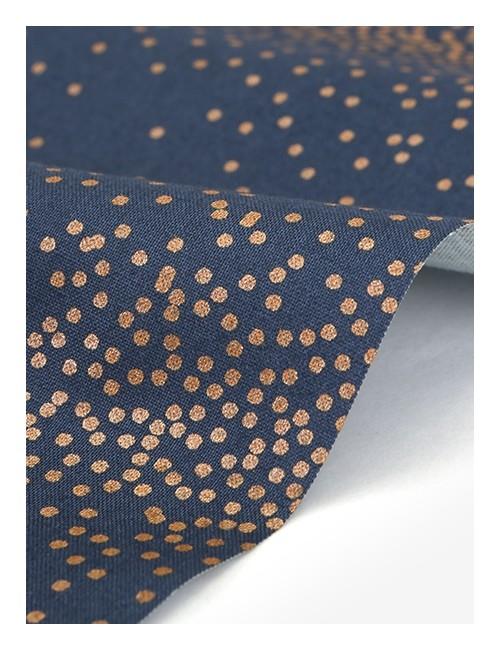 Ткань 100 % Хлопок Dailylike, Золотой горох на синем фоне , Плотность 165 г/м2, ширина 110 см.