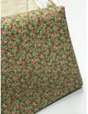Ткань 100 % Хлопок , Мелкие розочки на зеленом фоне , Плотность 155 г/м2, ширина 110 см.