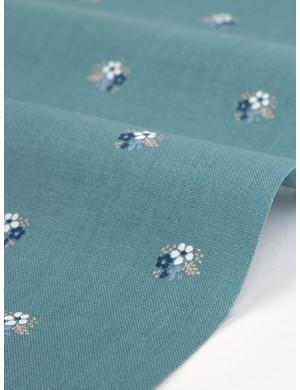 Ткань 100 % Хлопок Dailylike, Букеты на бирюзе , Плотность 165 г/м2, ширина 110 см.