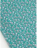 Ткань 100 % Хлопок, Бутоны роз на бирюзовом фоне , Плотность 155 г/м2, ширина 110 см.