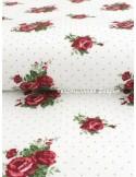 Ткань 100 % хлопок, Чехия, Розы алые на белом, плотность 145 г/м2, ширина 147 см