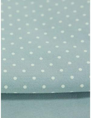 Ткань 100 % Хлопок, Горох 3 мм на голубом , мягкий, финишная обработка , Плотность 155 г/м2, ширина 145 см.