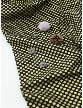 Ткань 100 % Хлопок, Золотой горох 5 мм на черном фоне , Плотность 155 г/м2, ширина 110 см.