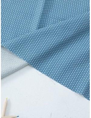 Ткань 100 % Хлопок, Горох 2 мм на синем фоне , Плотность 155 г/м2, ширина 110 см.