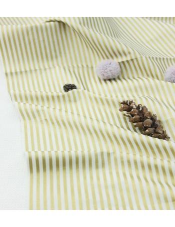 Ткань 100 % Хлопок, Золотая полоска 4 мм на белом фоне , Плотность 155 г/м2, ширина 110 см.