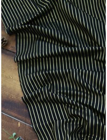 Ткань 100 % Хлопок, Золотая полоска на черном фоне , Плотность 155 г/м2, ширина 130 см.