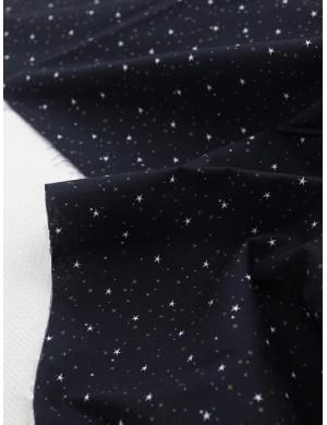 Ткань 100 % Хлопок, Звездное небо с глиттером, Плотность 155 г/м2, ширина 110 см.