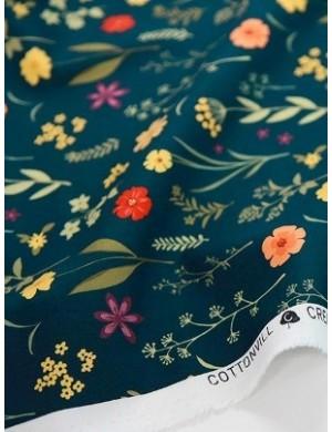 Ткань 100 % Хлопок, Цветочный луг на черном фоне , Плотность 155 г/м2, ширина 110 см