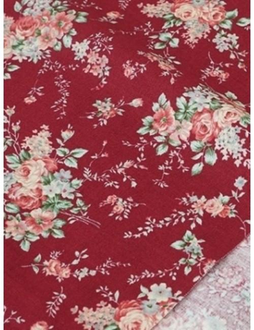 Ткань 100 % Хлопок,Букеты роз на бордовом фоне, Плотность 155 г/м2, ширина 110 см