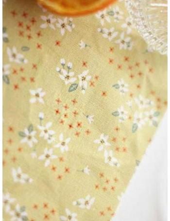 Ткань 100 % Хлопок, Цветки апельсина на желтом фоне, Плотность 155 г/м2, ширина 110 см