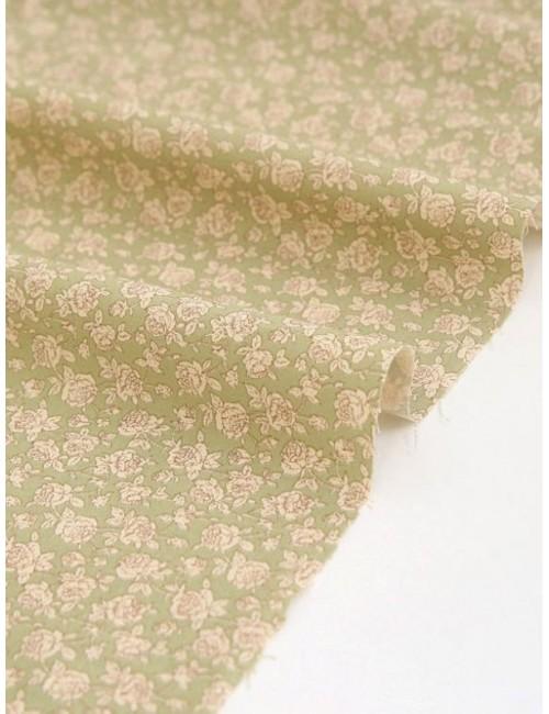 Ткань 100 % хлопок, Шебби розы на зеленом фоне, плотность 155 г/м2, ширина 110 см