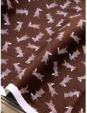 Ткань 100 % Хлопок, Мишки на коричневом фоне , Плотность 155 г/м2, ширина 110 см.