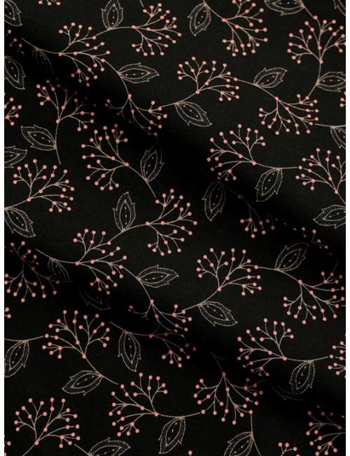Ткань 100% хлопок, Дёрен на черном фоне, ширина 110см, плотность 155 г/м2