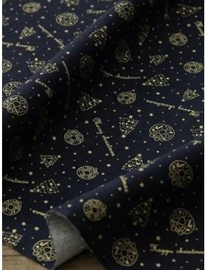 Ткань 100 % Хлопок, Рождество на синем фоне , Плотность 155 г/м2, ширина 110 см