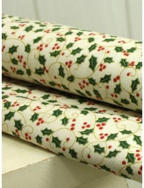Ткань 100 % Хлопок, Новогодние листики на молочном с глиттером, Плотность 150 г/м2, ширина 110 см