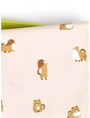 Ткань 100 % хлопок, Шпиц на бежевом фоне, ширина 110 см, плотность 155 г/м2, производитель Корея