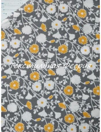 Ткань 100 % хлопок, Цветочки желто-серые, ширина 110 см, плотность 155 г/м2, производитель Корея