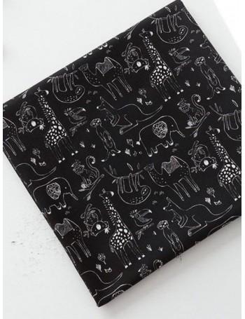 Ткань 100 % хлопок, Африка моно черный, ширина 110 см, плотность 155 г/м2, производитель Корея