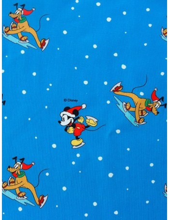 Ткань 100 % хлопок, Микки и Плуто Рождество, ширина 110 см, плотность 155 г/м2, производитель Корея