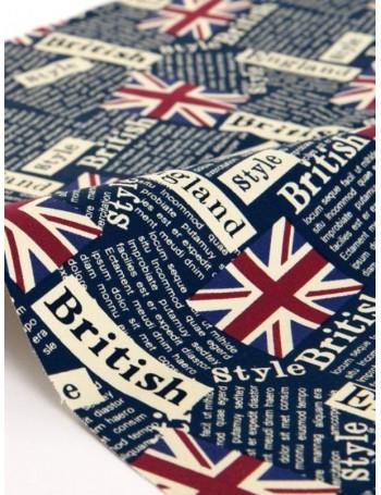 Ткань плотный 100 % Хлопок, Британские Флаги на синем, Плотность 200 г/м2, ширина 150 см,
