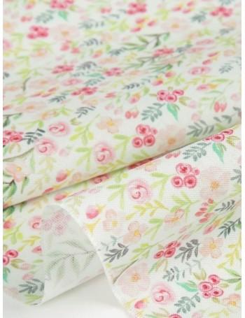 Ткань 100 % хлопок, Акварельный сад, ширина 110 см, плотность 155 г/м2, производитель Корея