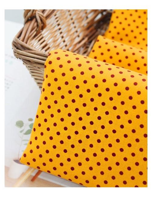 Ткань 100 % хлопок, Коричневый горох на желтом фоне, ширина 110 см, плотность 155 г/м2, производитель Корея