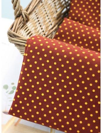 Ткань хлопок 100% Желтый горох на коричневом фоне , ширина 110 см, плотность 155г/м2