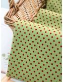 Ткань 100 % хлопок, Красный горох 3 мм на зеленом фоне, ширина 110 см, плотность 155 г/м2, производитель Корея