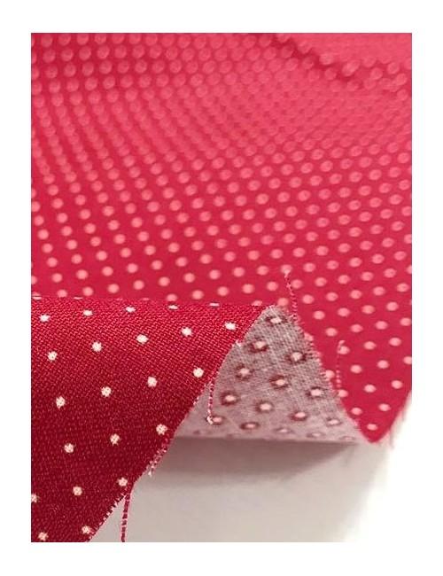 Ткань 100 % хлопок, Белый горох 1 мм на бордовом фоне , ширина 110 см, плотность 155 г/м2, производитель Корея