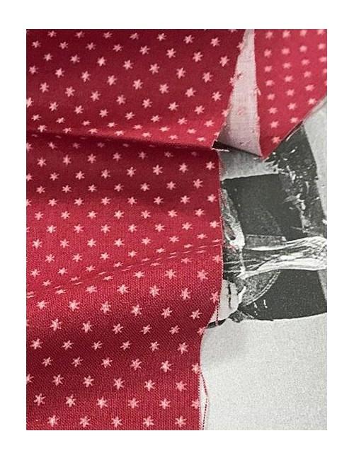 Ткань 100 % хлопок, Белые звездочки 3 мм на бордовом фоне , ширина 110 см, плотность 155 г/м2, производитель Корея