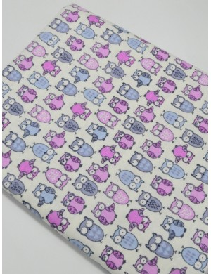 Ткань 100 % хлопок, Совы серо-розовые, ширина 110 см, плотность 155 г/м2, производитель Корея