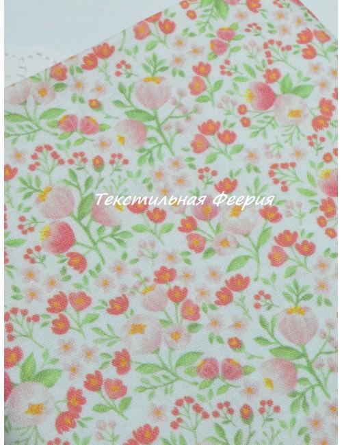 Ткань 100 % хлопок, Розовые крокусы , ширина 110 см, плотность 155 г/м2, производитель Корея