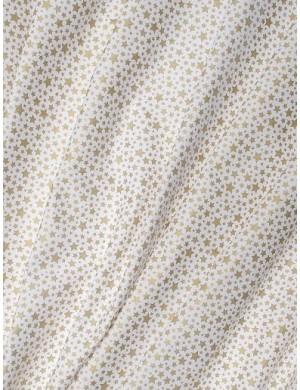 Ткань американский 100 % хлопок, Золотые звезды на белом с глиттером. Плотность 150 г/м2 , Ширина 110 см