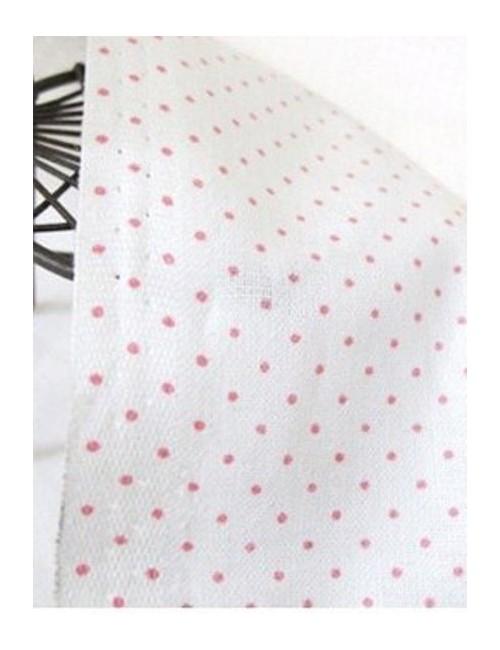 Ткань 100 % хлопок, Розовый горох 1 мм на белом фоне , ширина 110 см, плотность 155 г/м2, производитель Корея