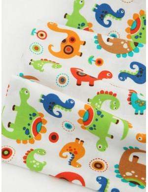 Ткань 100 % хлопок, Цветные динозавры, ширина 110 см, плотность 155 г/м2, производитель Корея