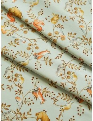Ткань 100 % хлопок, Осенний лес на голубом, ширина 110 см, плотность 155 г/м2, производитель Корея