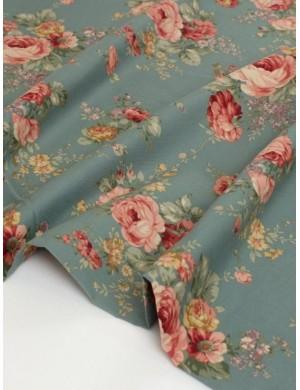 Ткань 100 % хлопок, Пионы на серо-синем, ширина 110 см, плотность 155 г/м2, производитель Корея