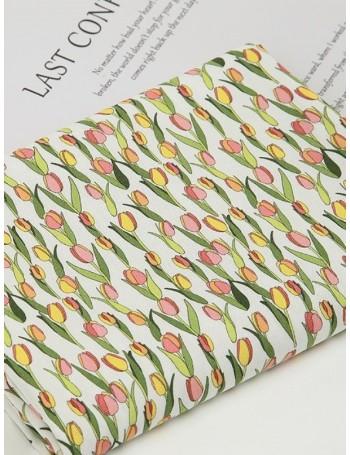 Ткань 100 % хлопок, Цветочная Тюльпаны, ширина 110 см, плотность 155 г/м2, производитель Корея