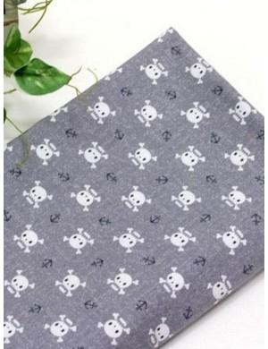 Ткань 100 % хлопок, Веселий Роджер на сером, ширина 110 см, плотность 155 г/м2, производитель Корея