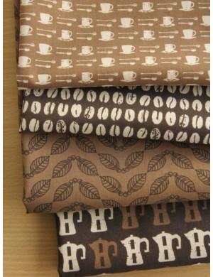 Набор тканей Кофейная тема, 100 % хлопок, плотность 155 г/м2, производитель Корея