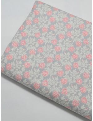 Ткань 100 % хлопок, Розы абстрактные на сером фоне, ширина 110 см, плотность 155 г/м2, производитель Корея