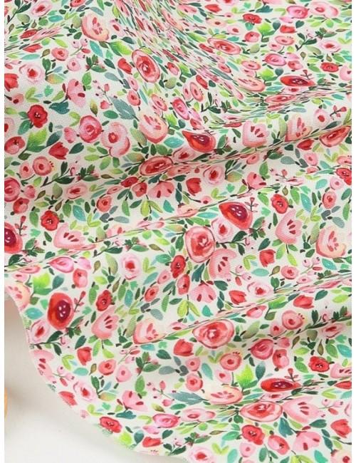 Ткань 100 % хлопок, Розы розово-зеленые, ширина 110 см, плотность 155 г/м2, производитель Корея