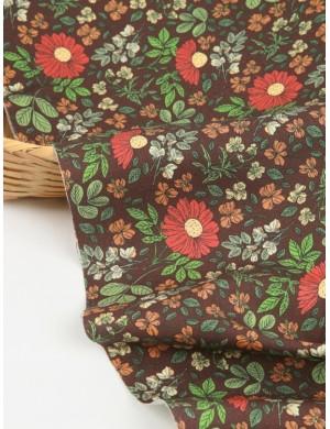 Ткань 100 % хлопок, Полевые цветы на коричнивом фоне, ширина 110 см, плотность 155 г/м2, производитель Корея