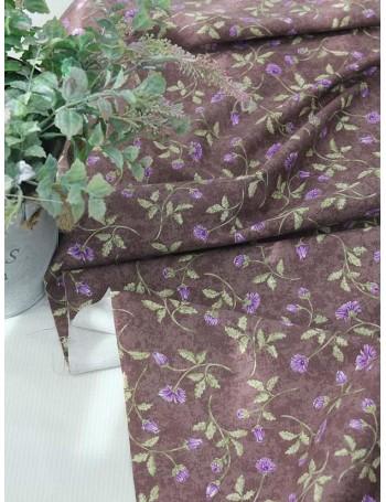 Ткань 100 % плотный хлопок, Оксфорд, Маргаритки на коричнивом фоне, Плотность 220 г/м2, ширина 110 см.