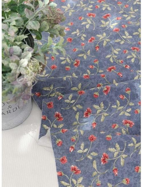 Ткань 100 % плотный хлопок, Оксфорд, Маргаритки на синем фоне, Плотность 220 г/м2, ширина 110 см.