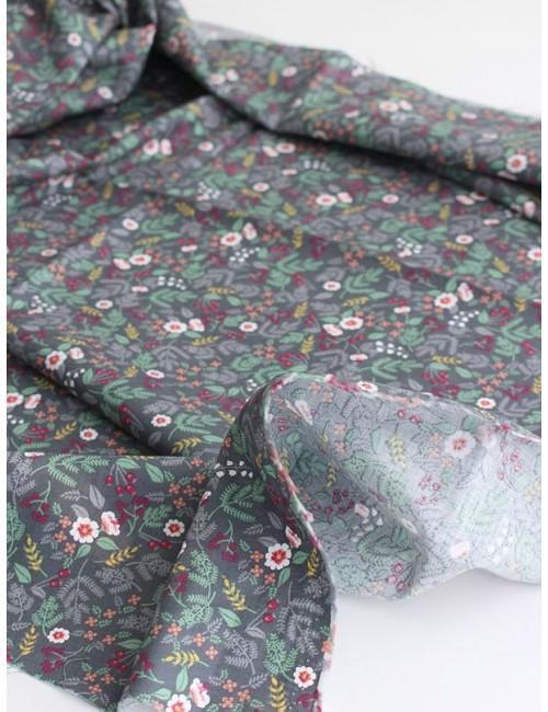 Ткань 100 % хлопок, Полевые цветы на серо-зеленом фоне, ширина 150 см, плотность 125 г/м2, производитель Корея